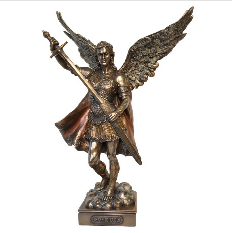 Archangel Michael bronze Finish Sheathing Sword. Made of cast resin coated with Bronze in a special process | Weight  0.97 Kg, height 34 cms | Crystal Heart Melbourne Australia since 1986