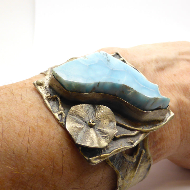 Larimar Slab Cuff Unique Matte Silver Oxidised Flower Organic