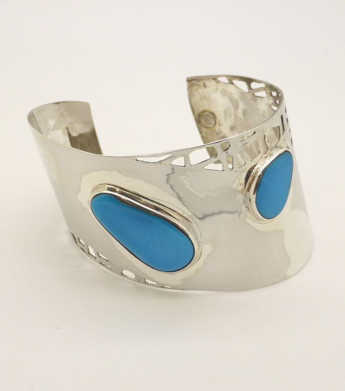 Italian Silver Cuff with Arizona Turquoise Three Freeform Cabochons of Arizona Turquoise Italian Sterling Silver Cuff | Sleek Modern style | Robin's Egg Blue | Handcrafted organic cut outs | Crystal Heart Melbourne Australia since 1986