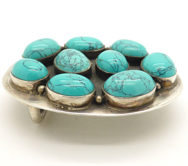 Turquoise Belt Buckle, 925 Silver