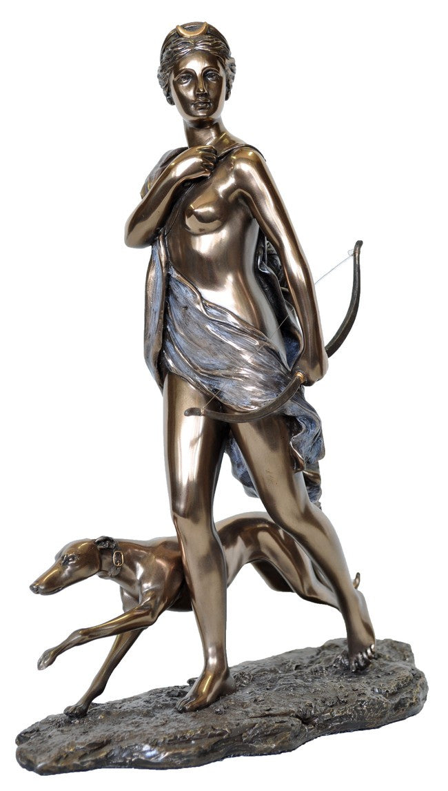 Greek Goddess Diana in cast resin coated with Bronze in a special process.  Fantastic details in these replicas of famous statues.  Weight  1.5 Kg,  28cm(H) x 22cm(W) x 9cm(D)