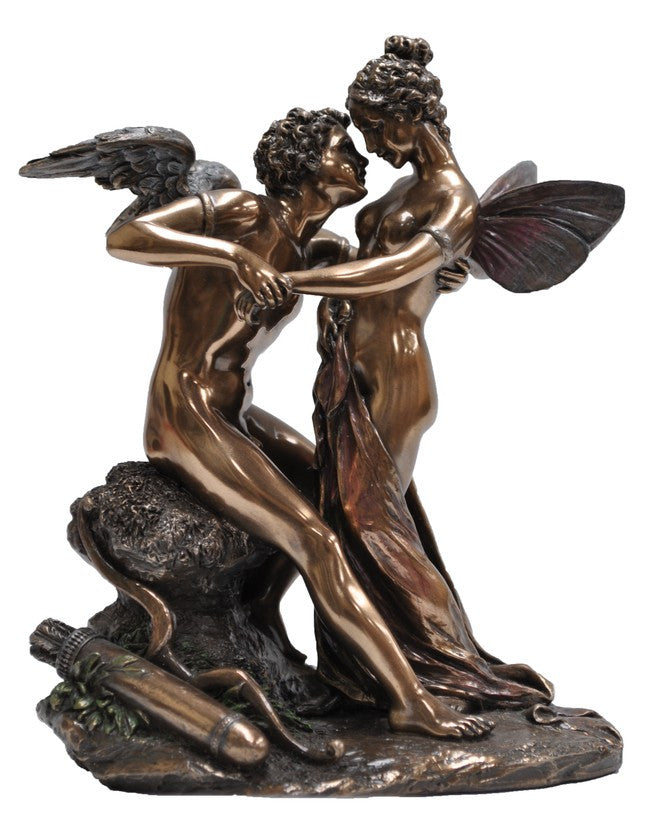 CUPID & PSYCHE Sculpture, Bronzed Resin