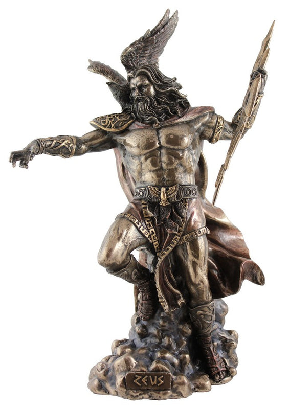 Greek God Zeus in cast resin coated with Bronze in a special process.  Fantastic details in these replicas of famous statues.  Weight  1.5 Kg,  29cm(H) x 19cm(W) x 11cm(D)