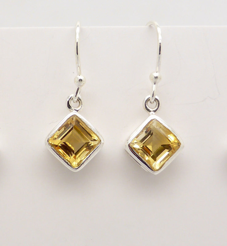 Earring Citrine Diamond Silver