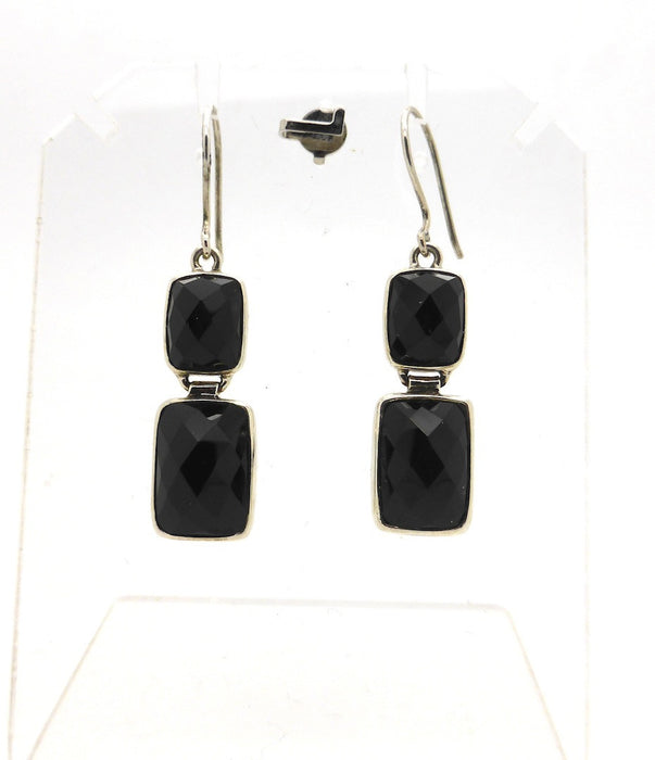 Cut Onyx Earring Silver Oblong