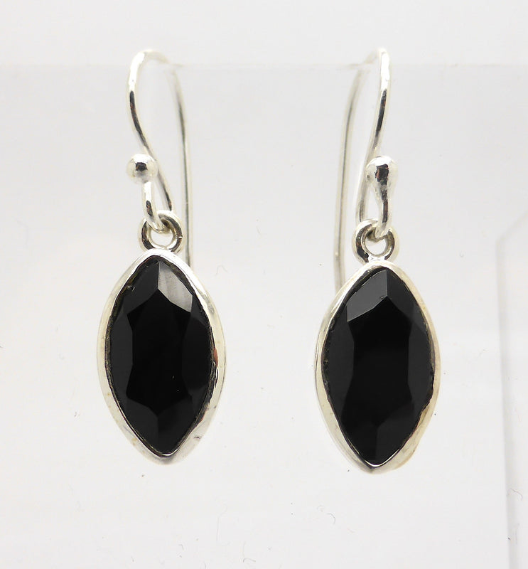 Black Onyx Marquise Earring Small Silver