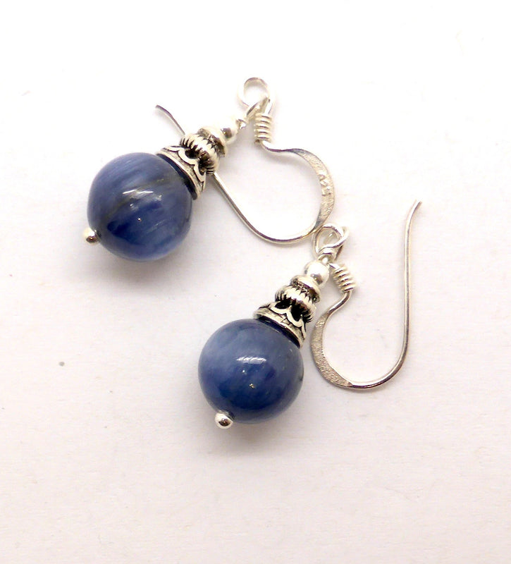 Blue Kyanite Earrings, bead, 925 Silver, n1