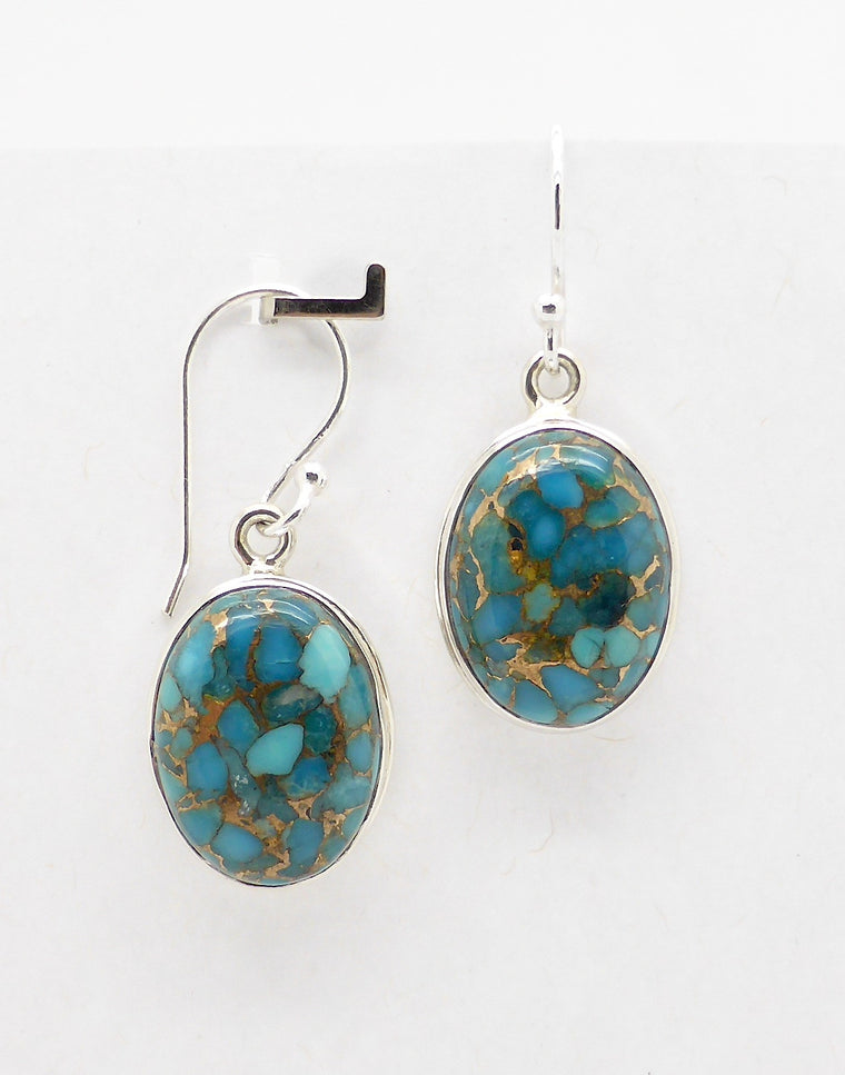 Turquoise Earrings, Cabochon Oval, 925 Silver sh