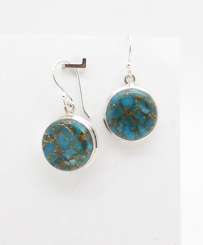 Copper Turquoise Hook Earrings, Cabochon Round, 925 Sterling Silver | Crystal Heart Melbourne Australia since 1986