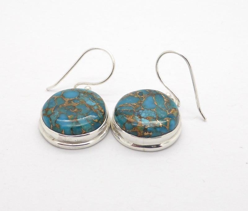 Turquoise Earrings, Cabochon Round, 925 Silver