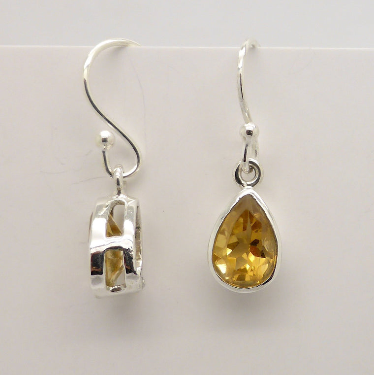 Citrine Earrings, Faceted Teardrop, 925 Silver
