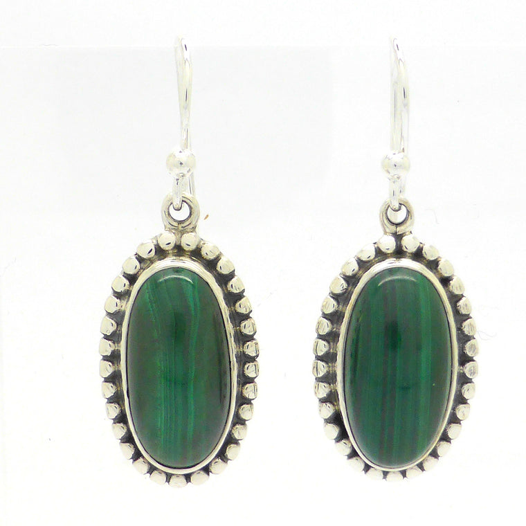Malachite Earring | Oval Cabochon | 925 Silver ks2