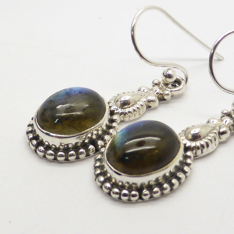 Labradorite  | Gemstone Cabochon Earrings | Sterling Silver | Ethnic Detail | Australian Supplier | weight 4.7 gm drop 35 mm