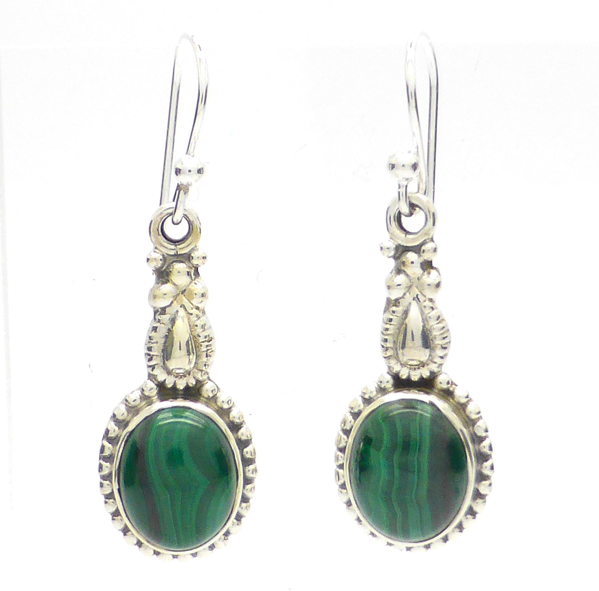Malachite Gemstone Earrings | Oval Cabochon | 925 Sterling Silver | Ethnic Detail |  Crystal Heart Melbourne Australia since 1986