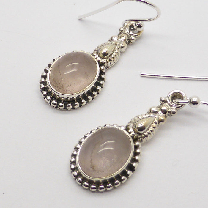 Rose Quartz | Gemstone Cabochon Earrings | Sterling Silver | Ethnic Detail | Australian Melbourne Supplier | weight 4.7 gm drop 35 mm