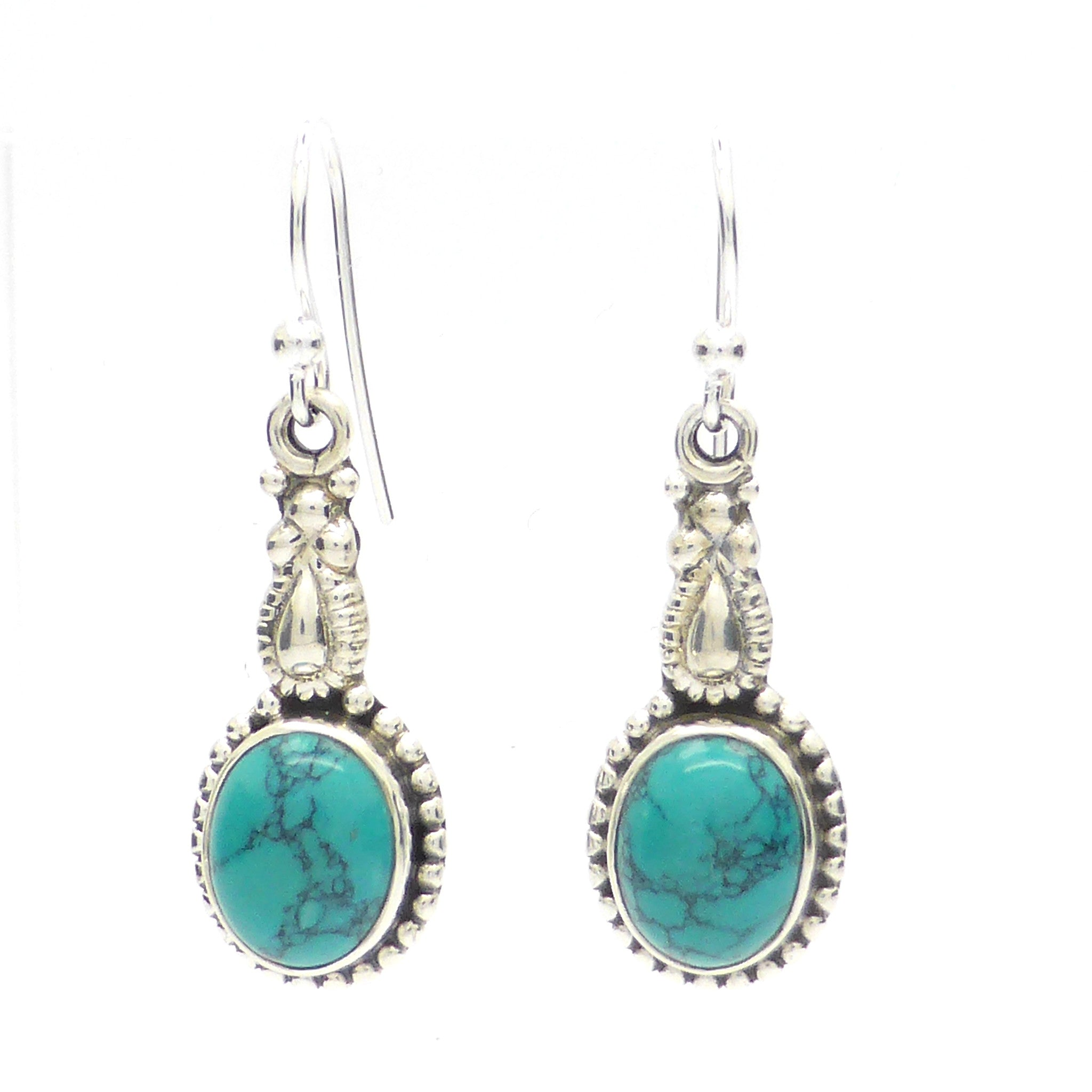 Turquoise Earrings | reconstituted gemstone | Oval Cabochon | 925 Sterling Silver | Ethnic Detail | Crystal Heart Melbourne Australia since 1986