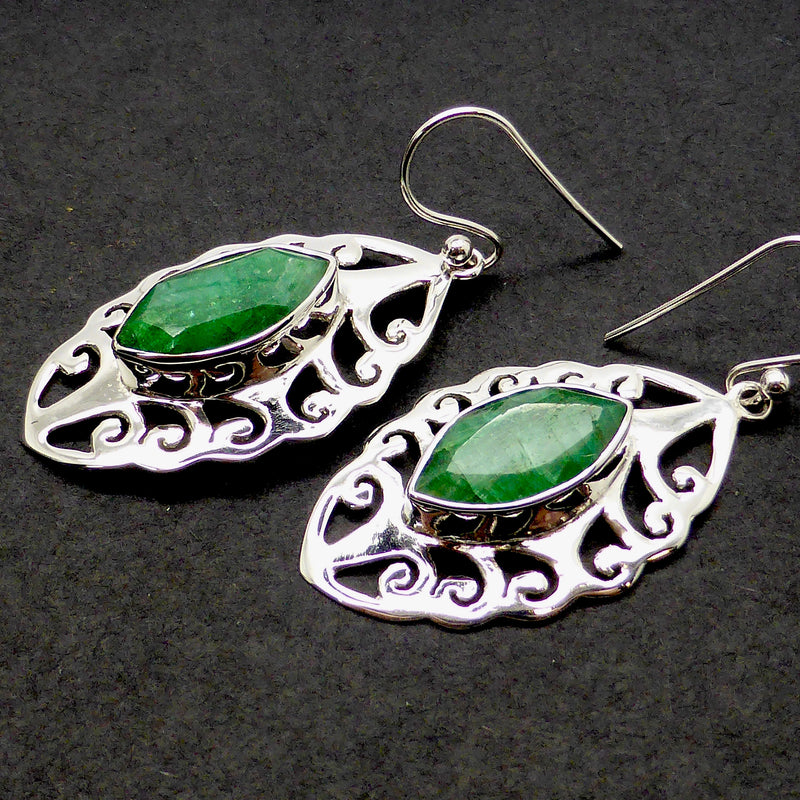 Silver Earrings | Emerald Gemstone | Faceted Earrings Marquise cut I Sterling Silver | beautiful Joli Cut | Australian Melbourne Supplier |