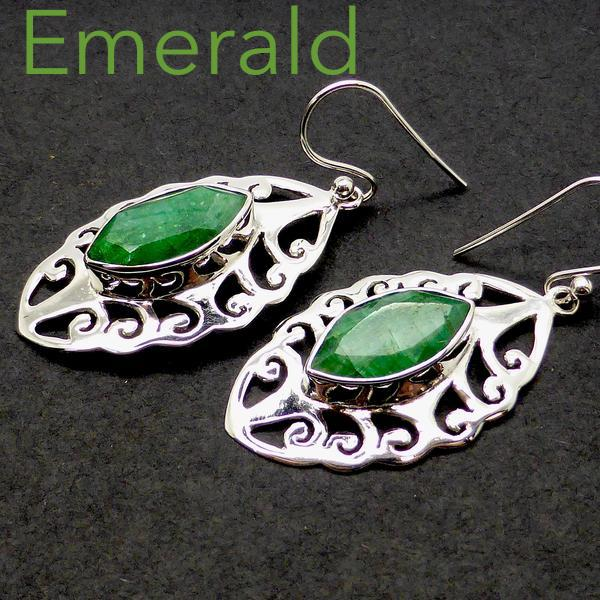 Silver Earrings | Emerald Gemstone | Faceted Earrings Marquise cut I Sterling Silver | beautiful Joli Cut | Crystal Heart Melbourne Australia since 1986