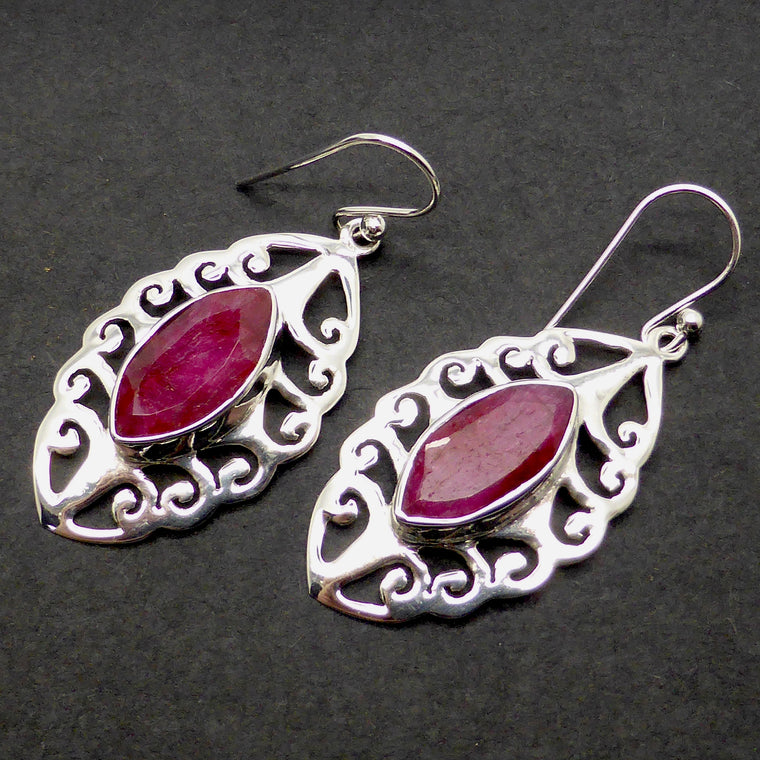 Ruby Earring, Faceted Marquise, 925 Silver ks6
