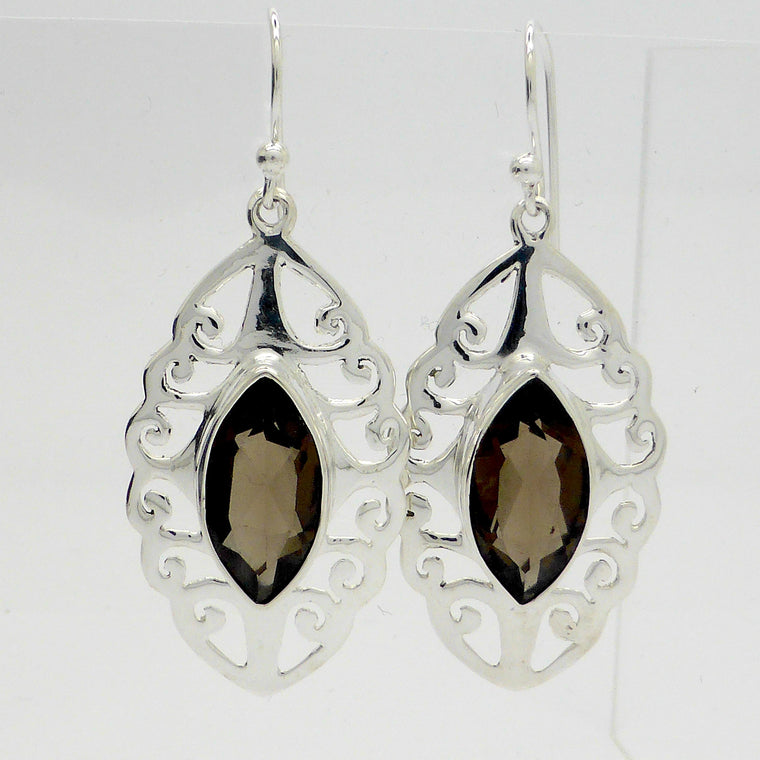 Smoky Quartz Earring, Faceted Marquise, 925 Silver ks6