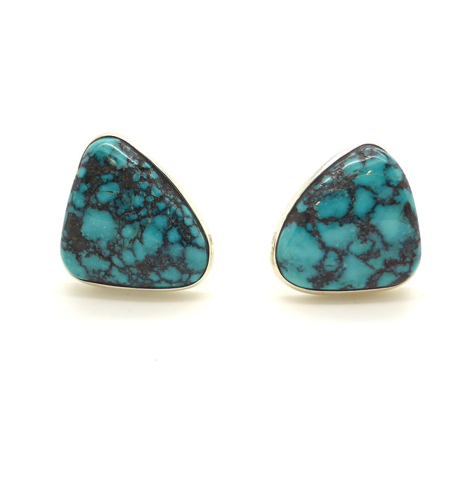 Mongolian Turquoise Clip On Earrings, 925 Silver | Italian design with Francesco's trademark organic mesh work on the back | Crystal Heart Melbourne Australia since 1986