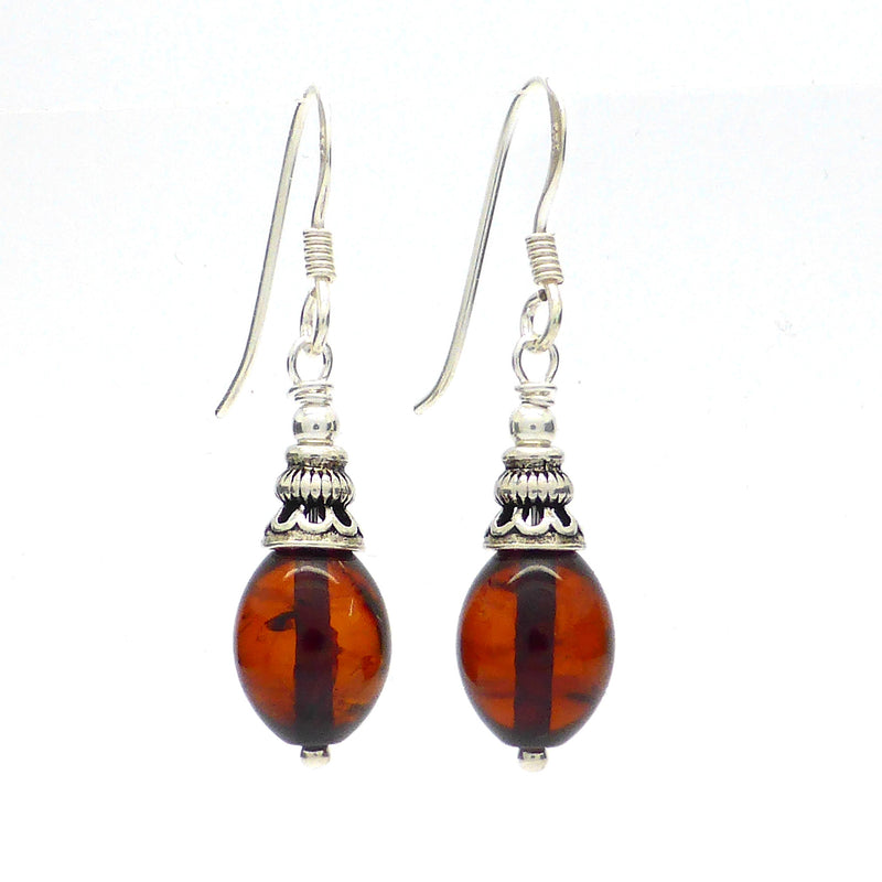 Genuine Baltic Amber Earrings | 925 Silver Findings Made in our own workshop by Nicha | Shaped not moulded | Crystal Heart Melbourne Australia since 1986