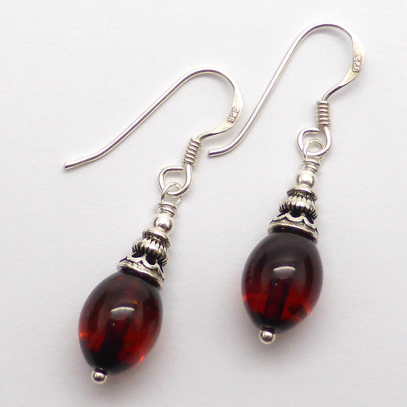 Amber Earrings, Baltic, 925 Silver