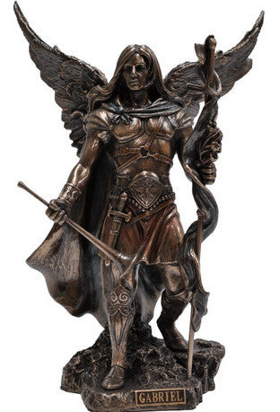 Archangel Gabriel Statue | Cast resin coated with Bronze in a special process | Fantastic details in these replicas of famous statues | Crystal Heart Melbourne Australia since 1986