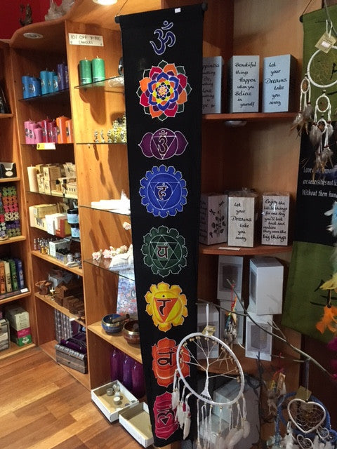 Chakra Wall Hanging | Colourful chakra symbols on black silky cotton | Crystal Heart Australia since 1986