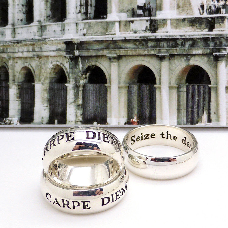 Ancient Roman Latin Motto Ring | 925 Sterling Silver | Carpe Diem | Seize the Day | Robin Willams Dead Poet's | Designed and manufactufed by Crystal Heart Australia