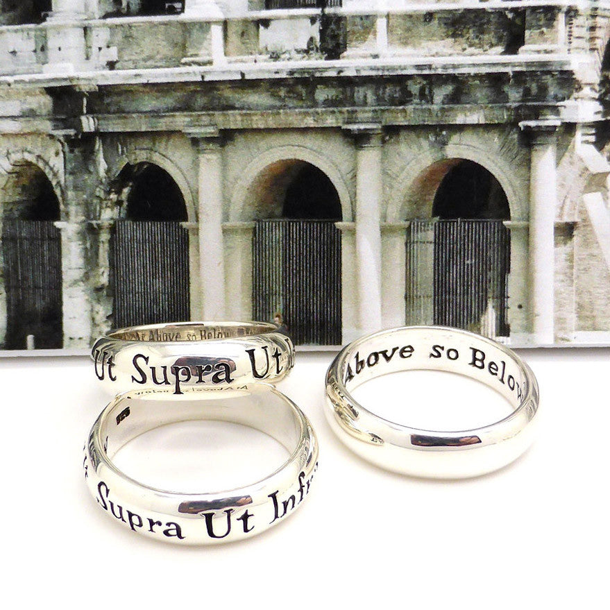 925 Sterling Silver Ring | Latin Motto | Ut Supra Ut Intra | As Above so Below | Spiritual Ring | Australian Supplier | Melbourne Australia