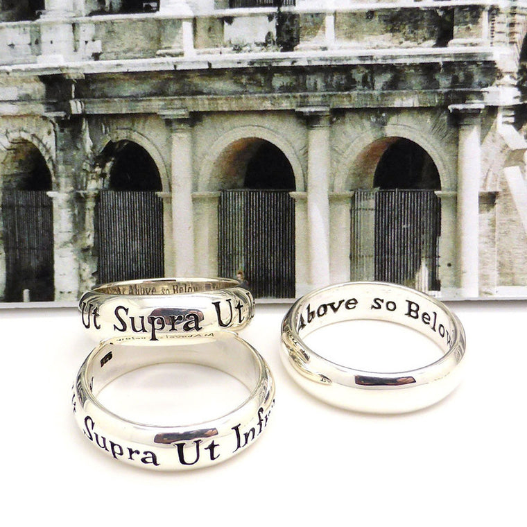 Latin Motto Ring Ut Supra, Ut Intra