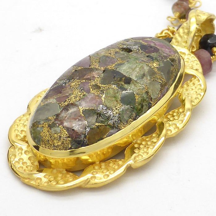 Necklace Tourmaline semi precious stone  | Silver or gold plate | Retro Victorian Antique look | Australian supplier Melbourne Australia |