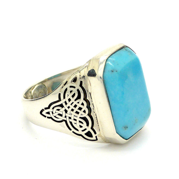 Arizona Turquoise 925 Sterling Silver Unisex Ring | Laser cut Celtic Knotwork | Italian Design | Crystal Heart Gemstone Jewellery Melbourne Australia since 1986