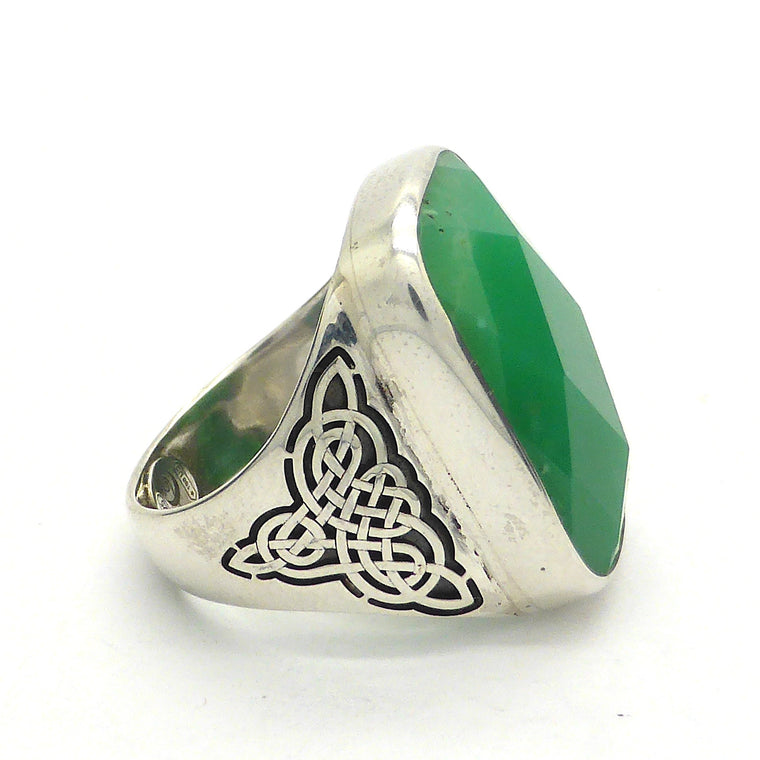 Chrysoprase Ring, Celtic Knotwork, 925 Silver