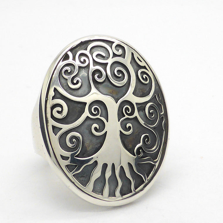 Tree Ring, Spiral Branches, 925 Silver Tree