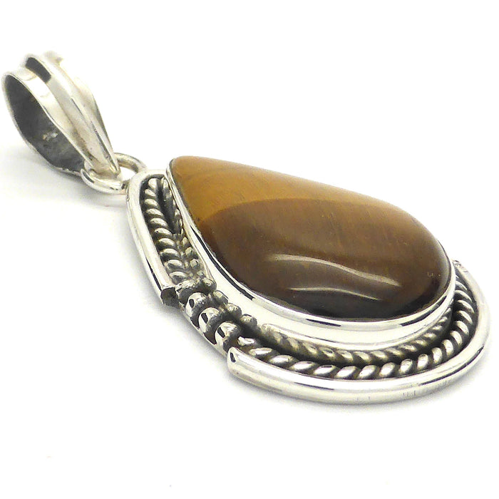 Natural Tiger Eye Pendant | 925 Sterling Silver | Strengthen and Focus the mind | Australia Supplier