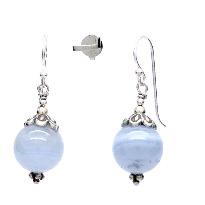Blue Lace Agate Earrings | 925 Sterling Silver | 12 mm beads | Fair Trade | Throat Chakra Communication | Genuine Gems from Crystal Heart Melbourne Australia since 1986