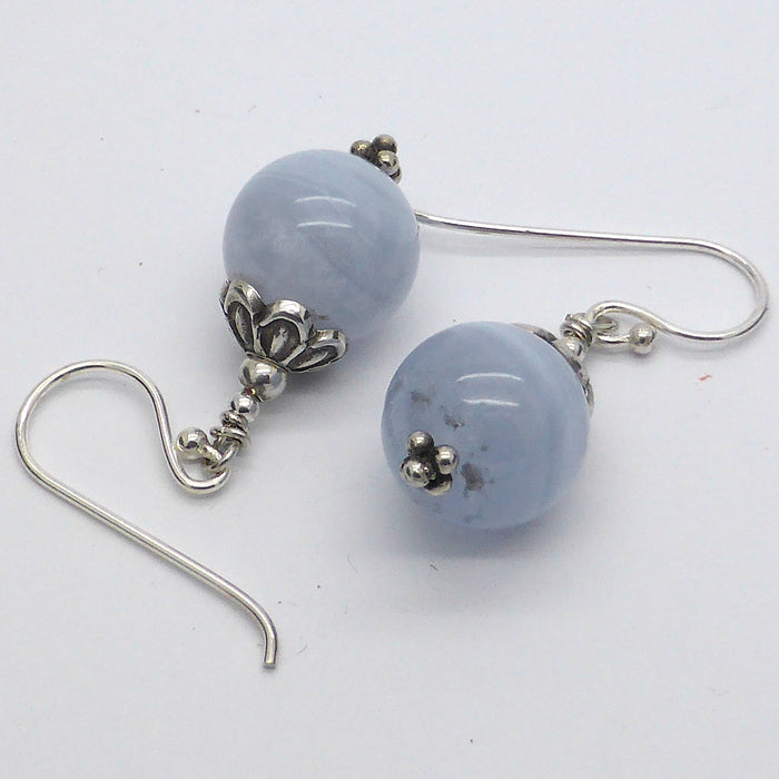 Blue Lace Earrings, 925 Silver, nx
