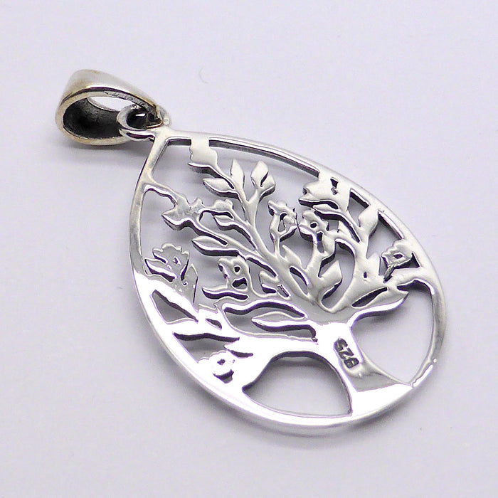 Pendant Tree in blossom | 925 Sterling silver, Drop 36 mm | Tear drop shape | Australian Supplier | Melbourne Australia