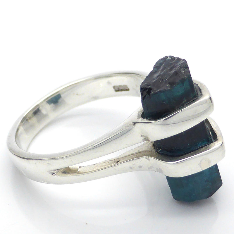 Natural Blue Tourmaline Indicolite Crystal Ring | 925 Sterling Silver | Star Stone Libra Taurus | Crystal Heart Gemstone Jewellery Melbourne Australia