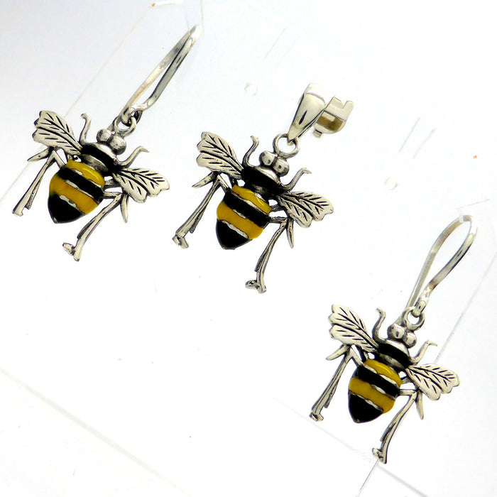 Bee Earring Pendant Set | 925 Sterling silver & Enamel | Creativity fertility Goddess wisdom power | Melissa | Merovingian | Crystal Heart Melbourne Australia since 1986