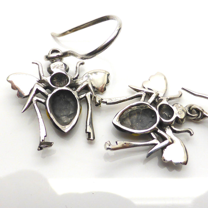 Bee Pendant & Earring with Enamel, 925 Silver