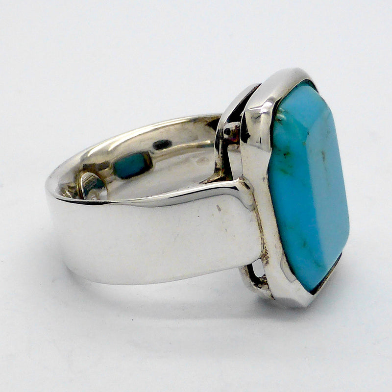 Arizona Turquoise 925 Sterling Silver Unisex Ring | Francesco Italian Design | Oblong Stone | Masculine | Crystal Heart Gemstone Jewellery Melbourne Australia since 1986