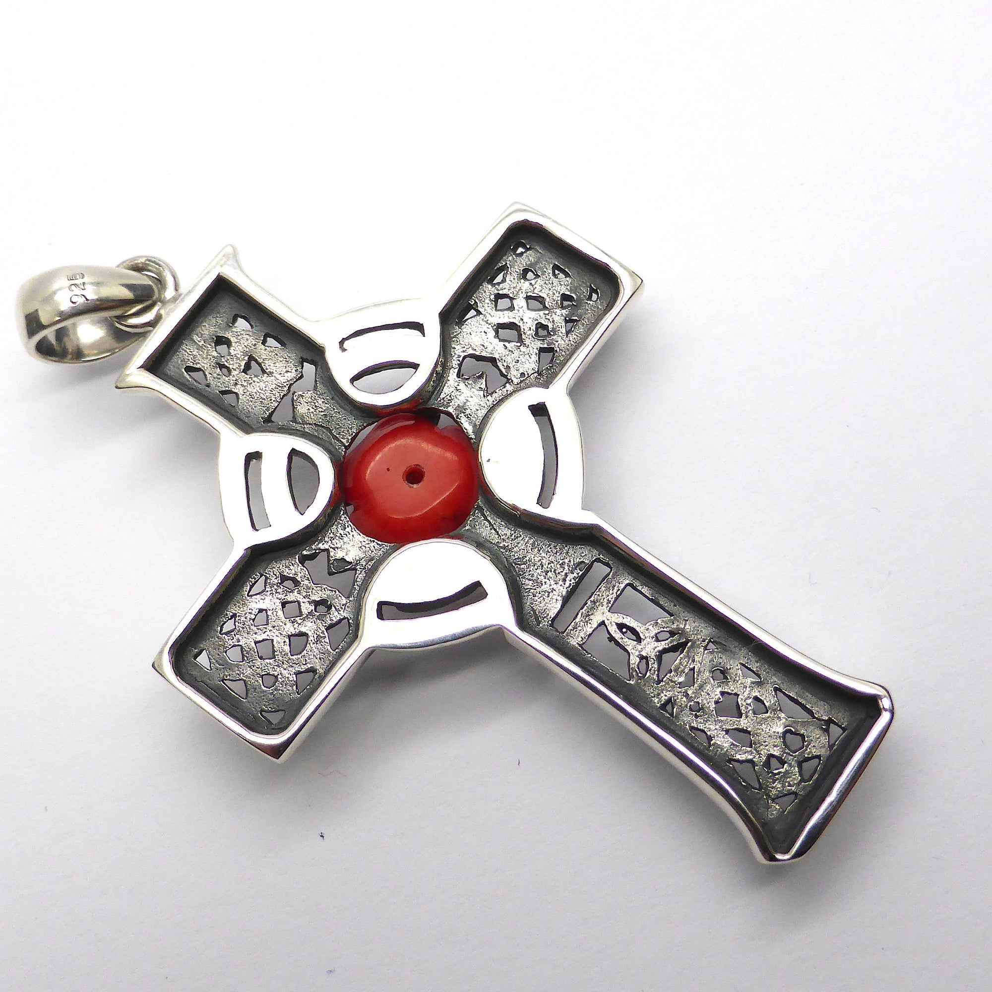 Pendant celtic cross red coral rose 925 sterling silver crystal majestic celtic rosy cross pendant in 925 sterling silver rose hand carved from natural red mozeypictures Image collections