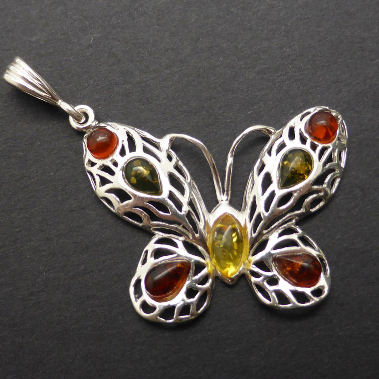 Amber Pendant, Baltic, Butterfly Motif, 925 Silver