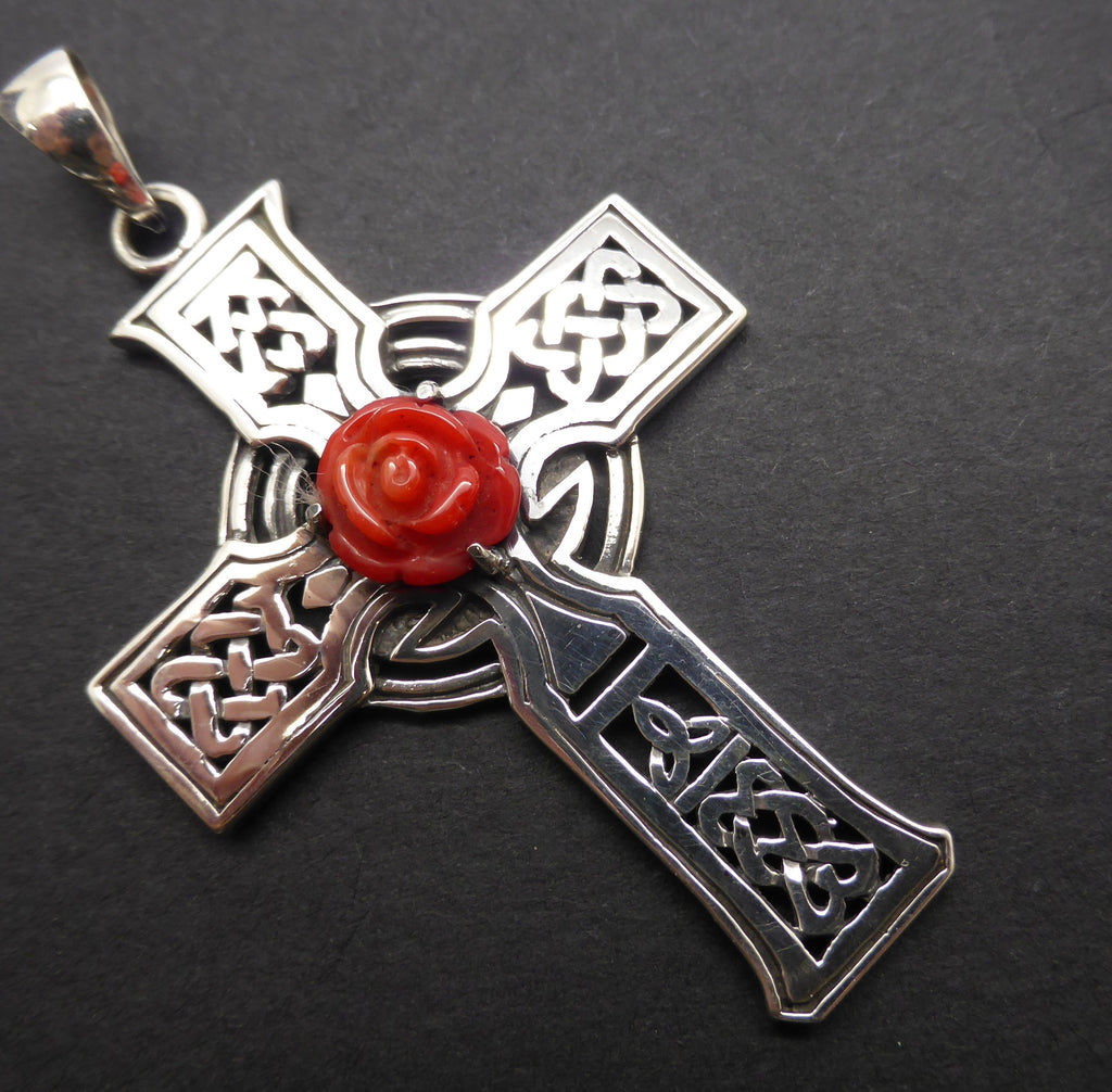 Pendant Celtic Cross Red Coral Rose 925 Sterling Silver