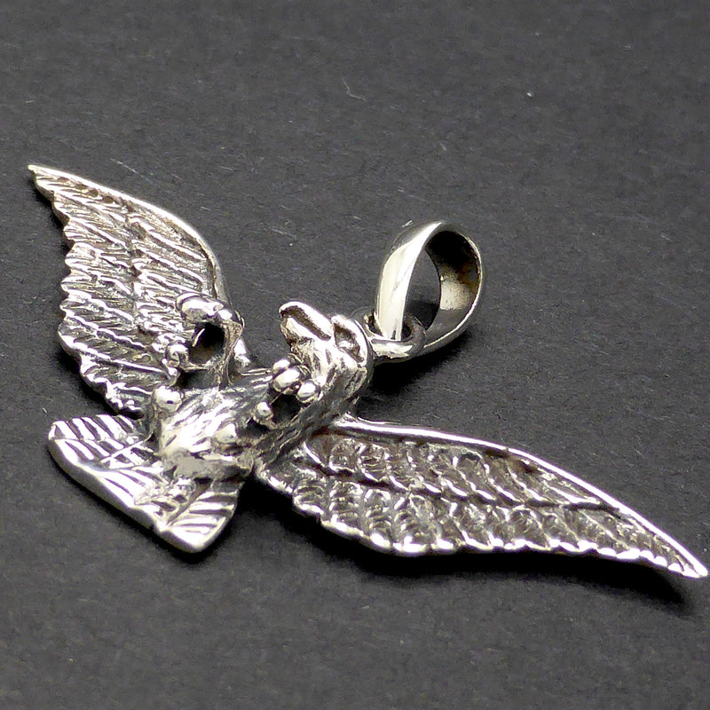 Eagle Pendant in 925 Sterling Silver | Spread wings and claws nice detail I Wingtip to Tip 40 mm | Crystal Heart Melbourne Australia since 1986 Visibility Online Store Organization Product type Vendor Collections      Pendants, Silver  Tags View all tags      Silver     Pendant     Eagle     925 Sterling Silver