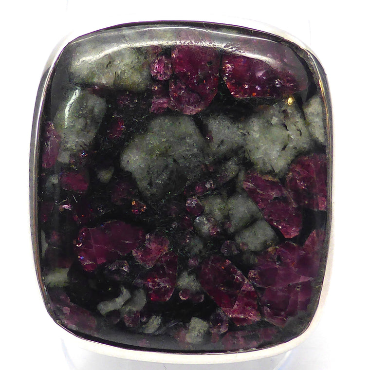 Eudialyte Ring, Square Cabochon, 925 Silver mj2