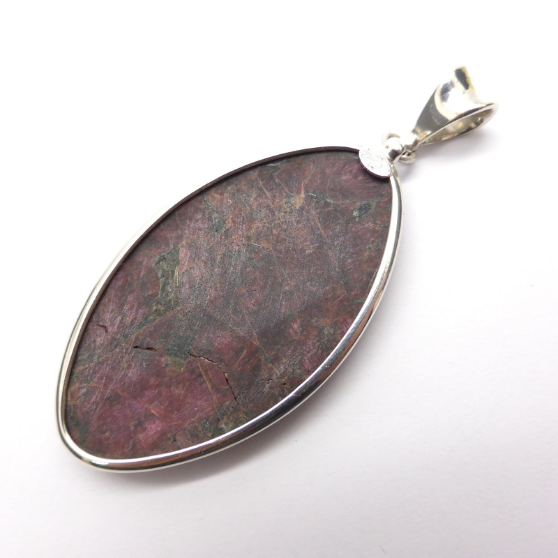 Eudialyte Natural Crysta l Pendant I 925 Sterling Silver | Large Marquise Cabochon Courage Spiritual Warrior | Aries | Crystal Heart Melbourne Australia since 1986